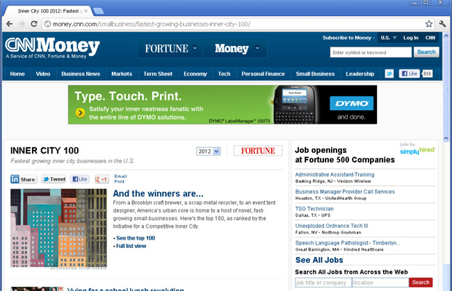 ColorFX at InnerCity100 CNN-First Page